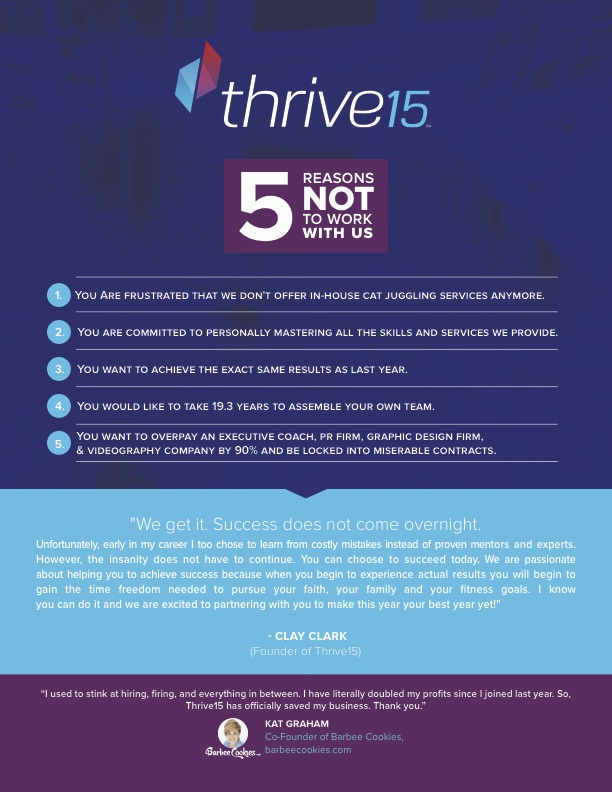 Best Business Coaching Programs | Thrivetime Show - 5 Reasons NOT to Work with Us.