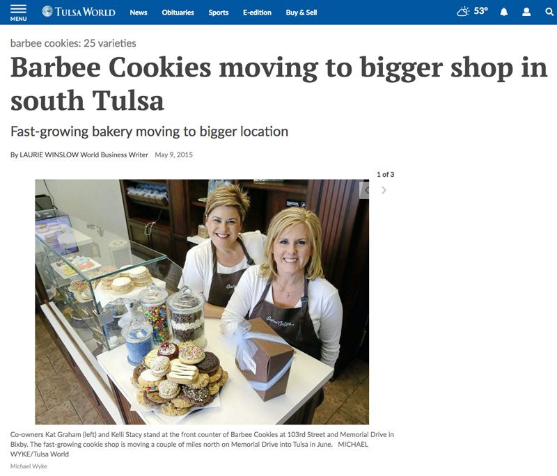 Business Coaching Clients In The News Barbee Cookies Tulsa World 1