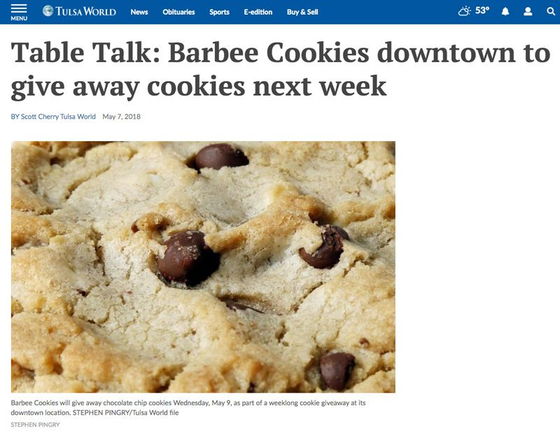 Business Coaching Clients In The News Barbee Cookies Tulsa World 2