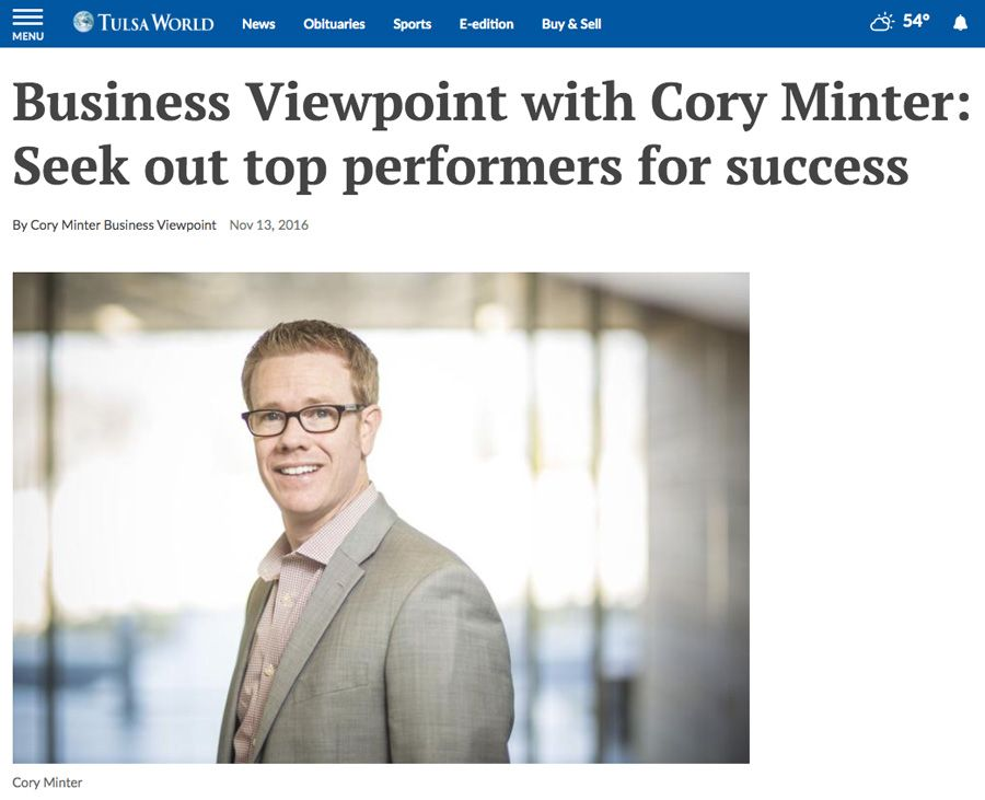 Business Coaching Clients In The News Cory Minter Tulsa World 1