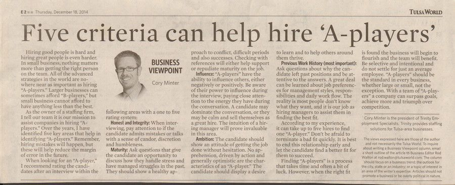 Business Coaching Clients In The News Cory Minter Tulsa World 4