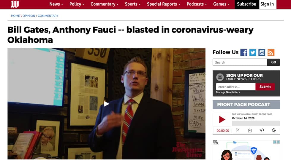 Business Coach Clay Clark Washington Times Coronavirus