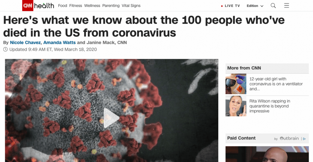 Coronavirus 101 Cnn 100 People Us Deaths